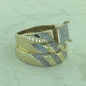 Jewelry - 10k Yellow Gold Bridal Wedding Diamond Trio Set
